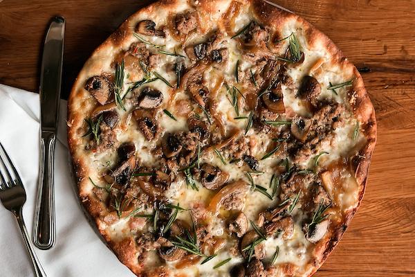 Sausage and taleggio pizza