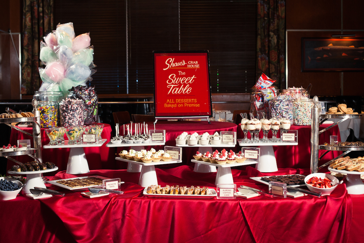 Shaw's brunch sweets table with over 15 different dessert from cotton candy to pie