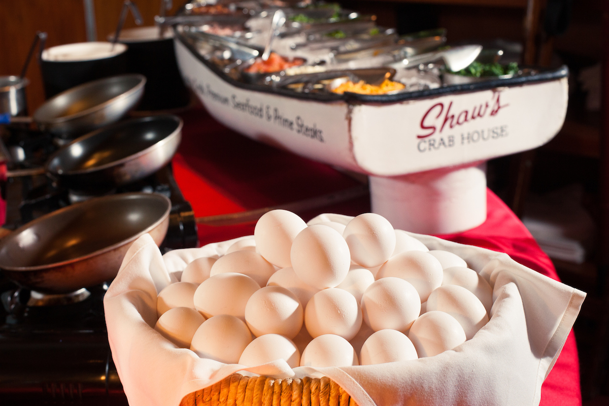 basket of eggs and toppings at the omelet bar of Shaw's Crab House