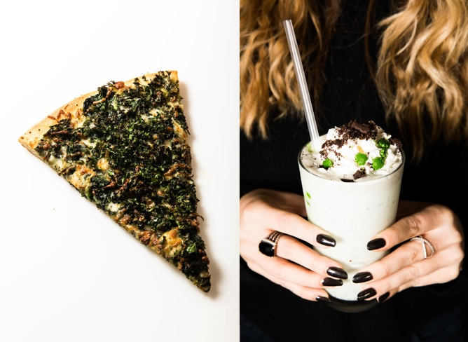 side-by-side images of foodlife's green pizza and shammock shake