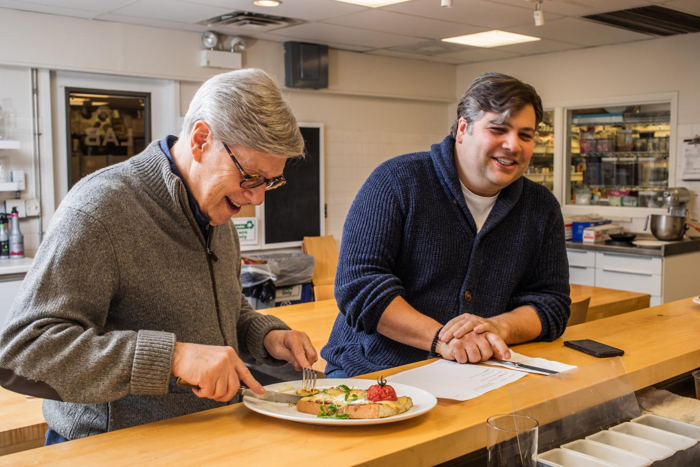 LEYE Found Rich Melman and President R.J. Melman Doing a Tasting in the Test Kitchen