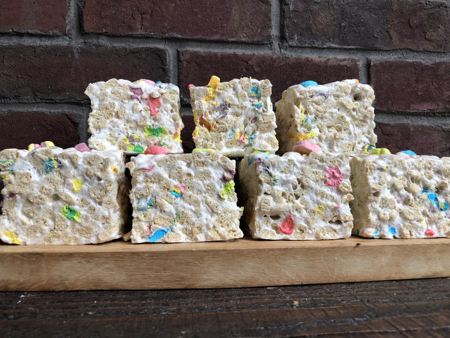 7 rice krispie treats studded with lucky charm marshmallows