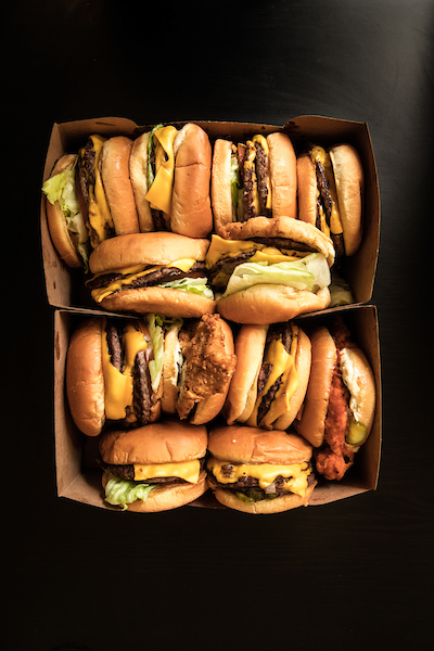 box filled with burgers