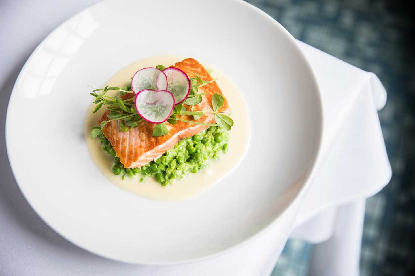 Mon Ami Gabi's atlantic salmon with mashed peas