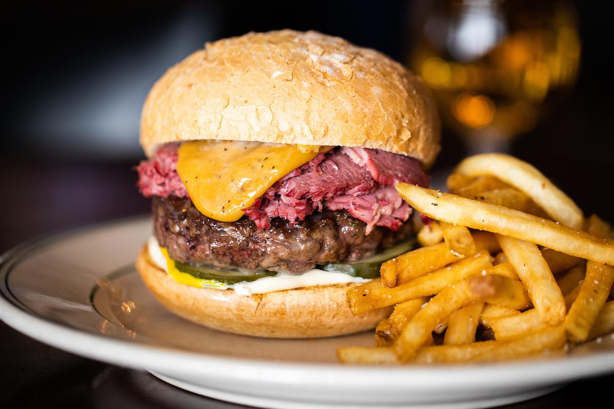 Joe's Vegas Corned Beef Beer Cheese Burger
