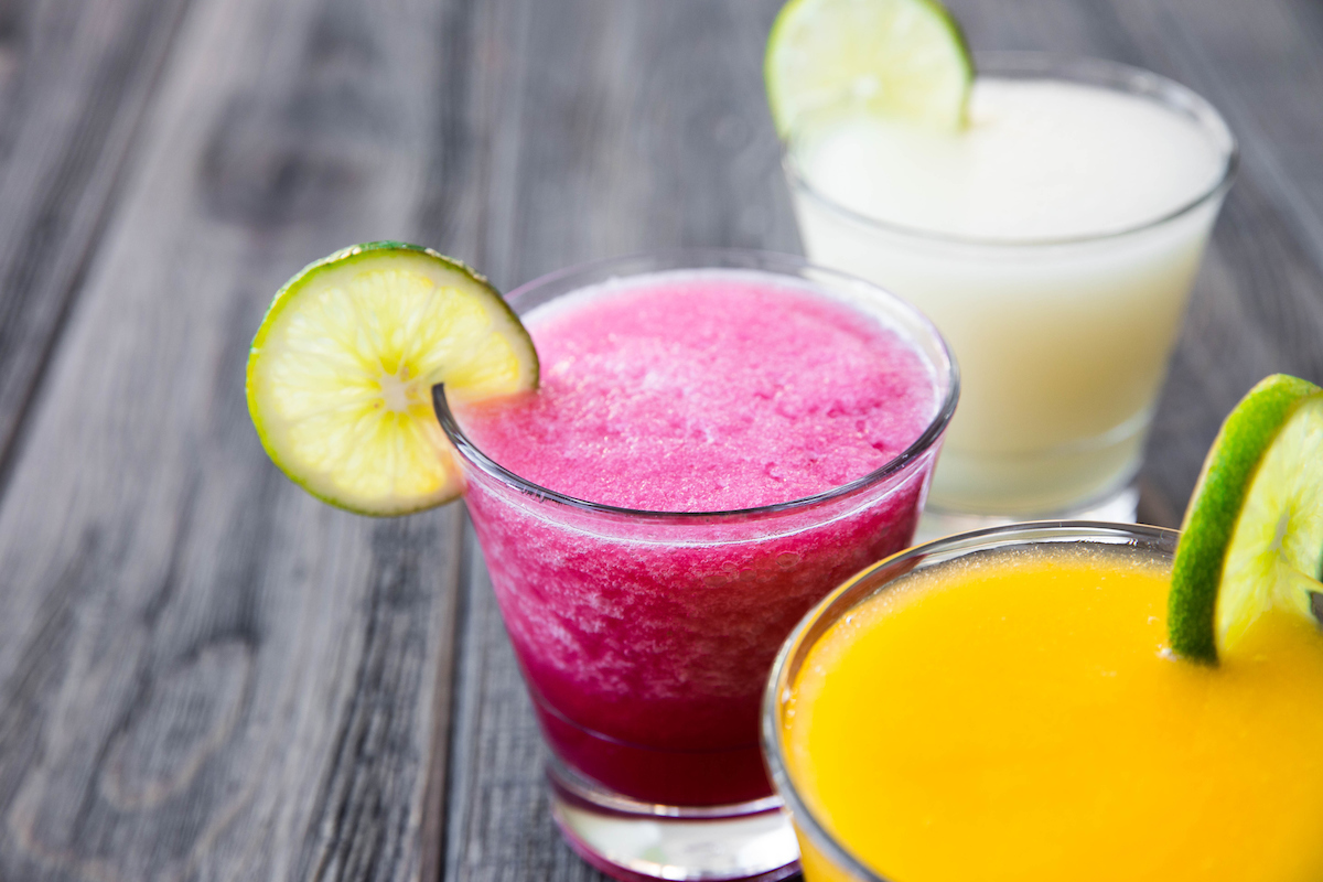 three frozen margaritas from el segundo sol
