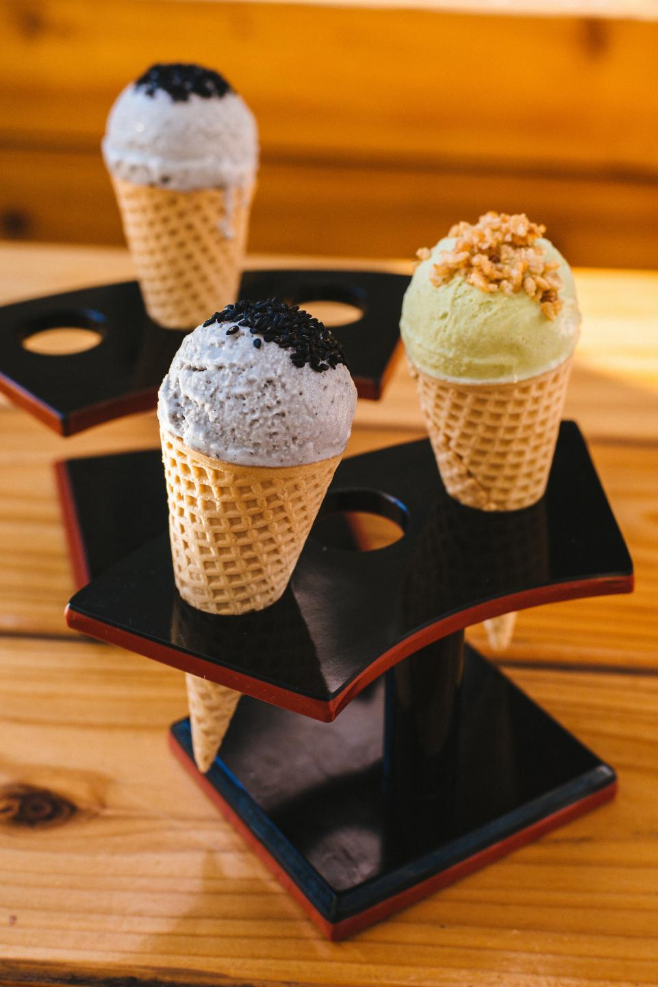 Mini ice cream cones from Ramen-san