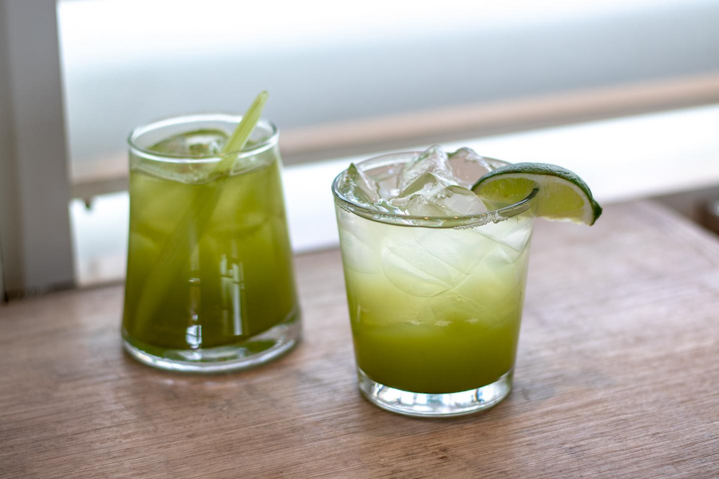 Two Matcha drinks from Summer House Santa Monica