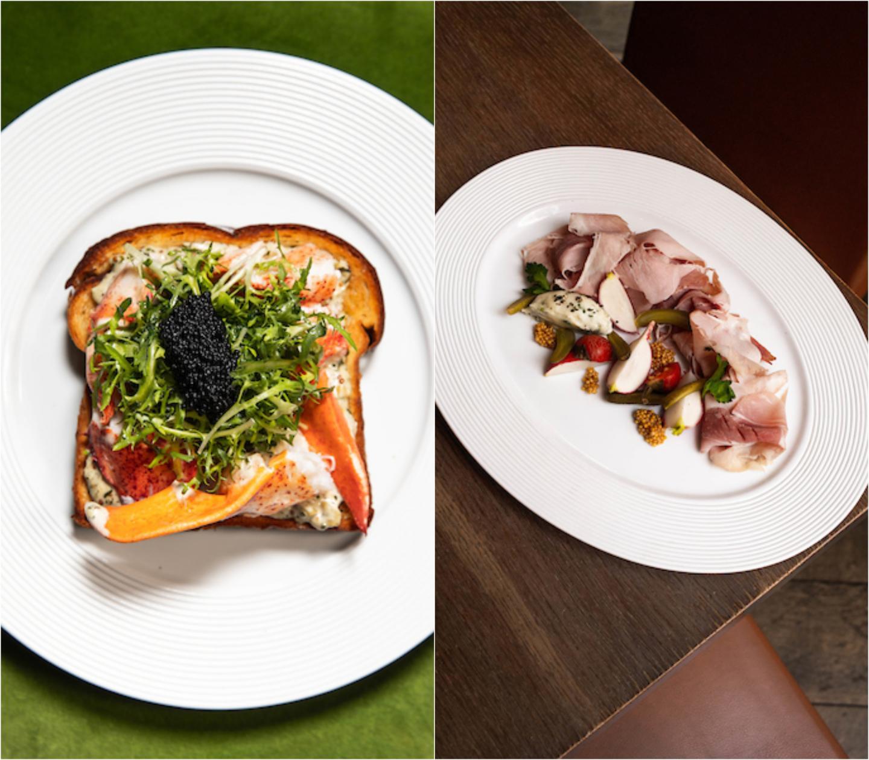 caviar toast and ham