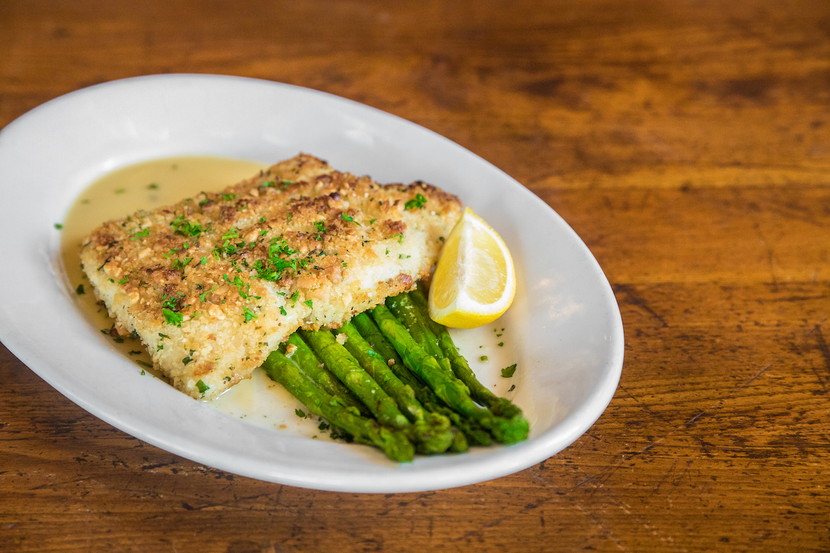 macadamia nut encrusted halibut