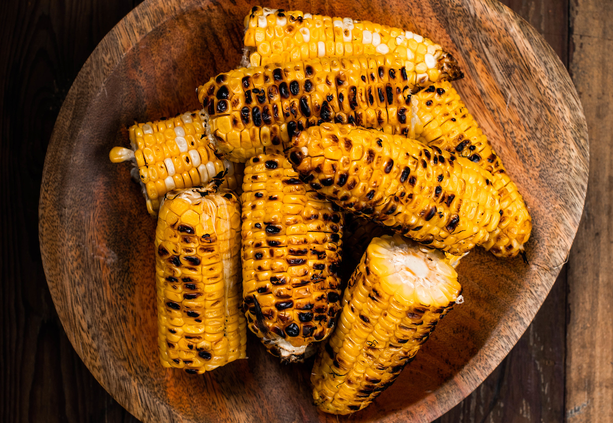 Grilled corn in a bowl