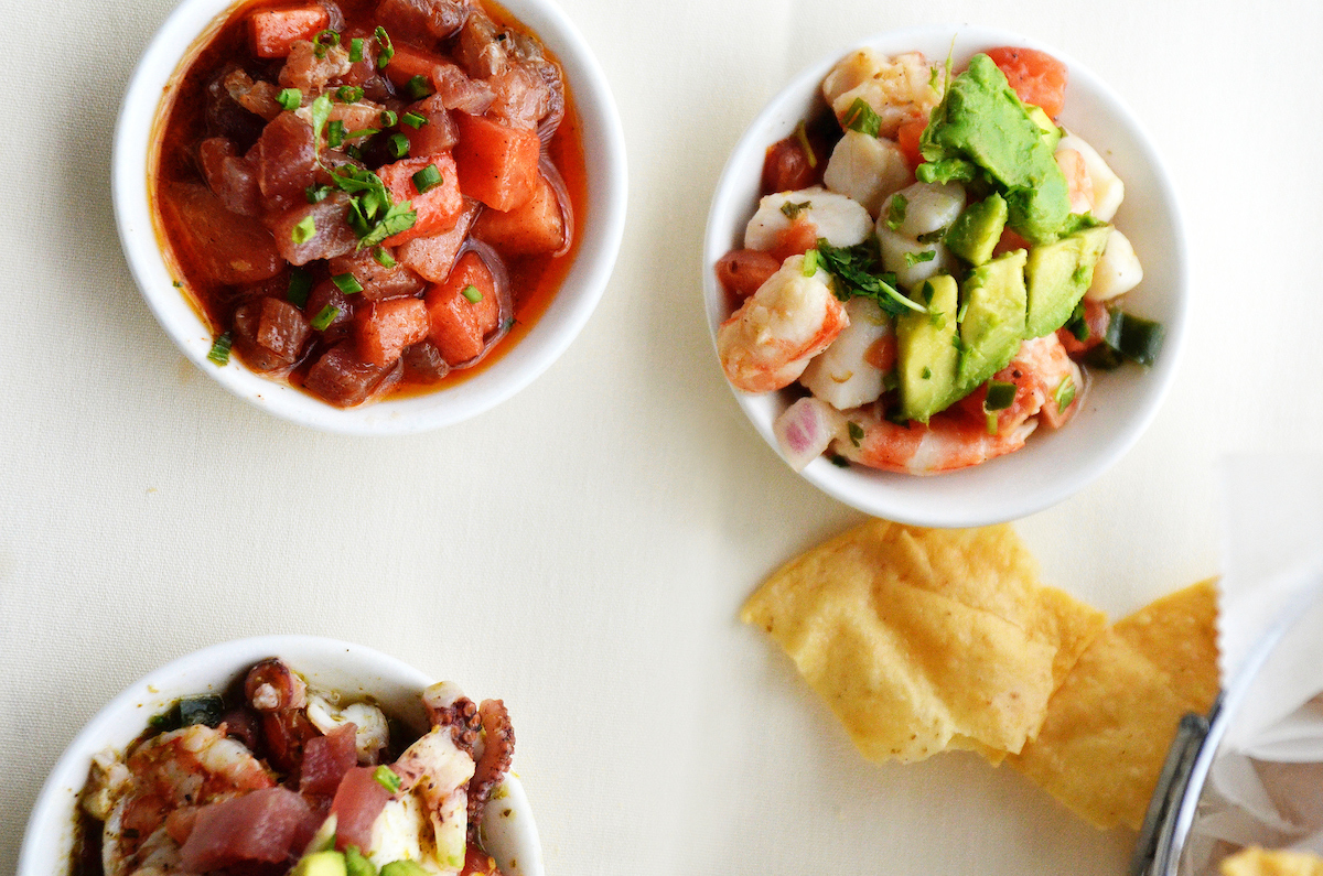 three bowls of ceviche