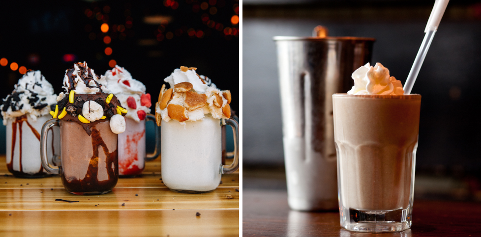 side by side images: Bub milkshakes and RJ Grunts' milkshakes