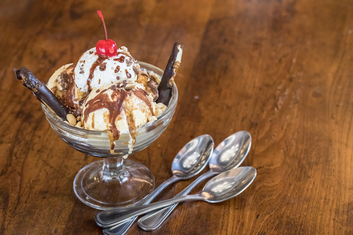 Wildfire's pretzel ice cream sundae
