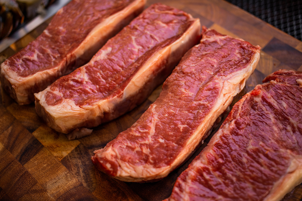 Raw steaks