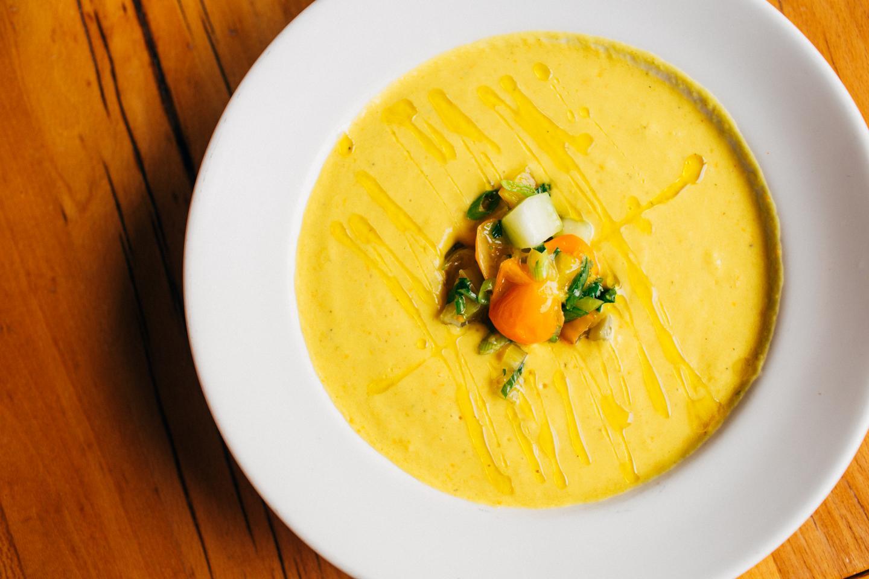 beatrix yellow tomato gazpacho soup cold soup