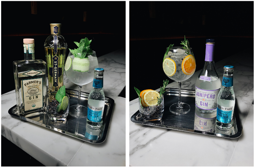 side by side images of gin and tonics