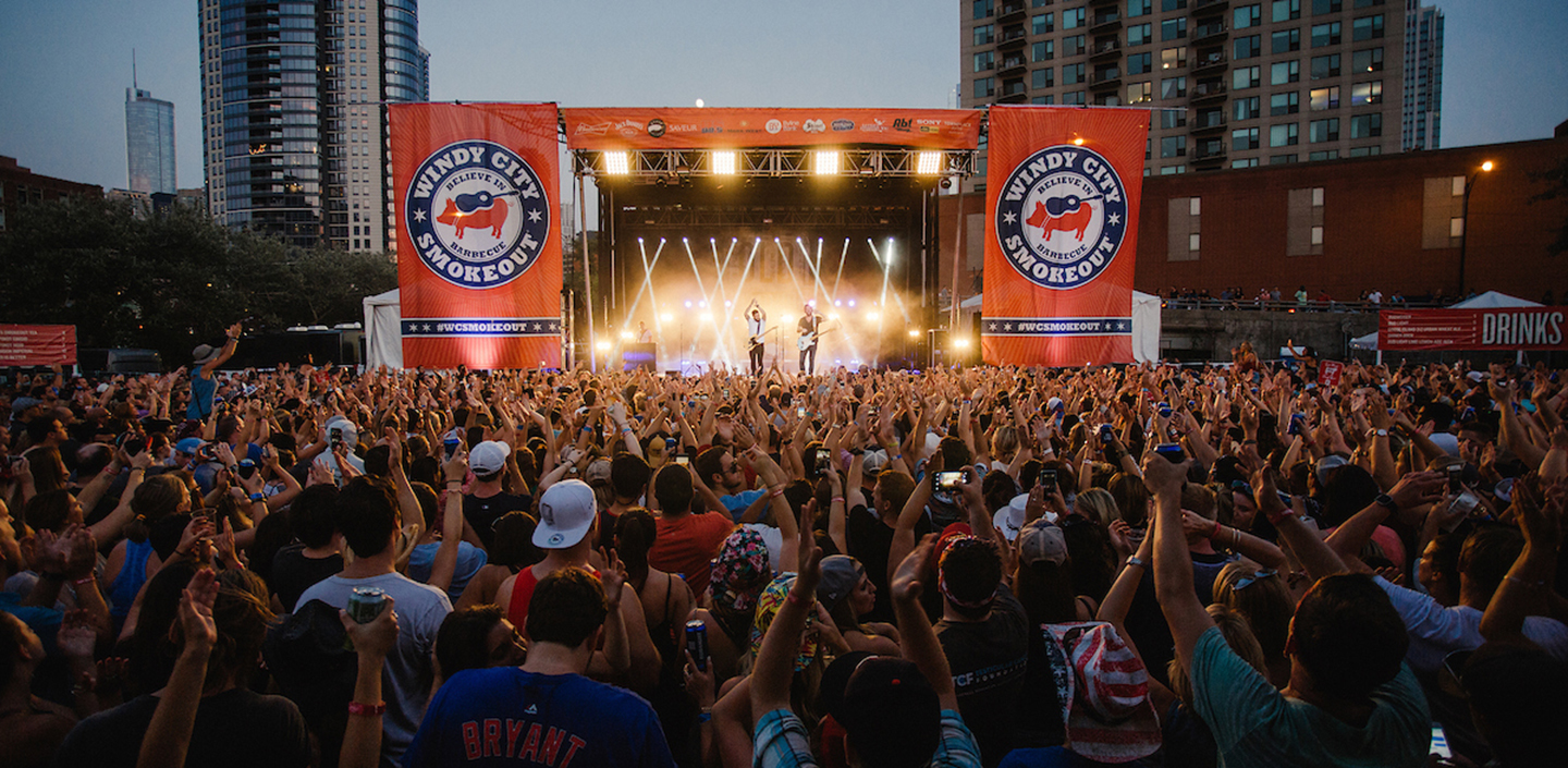 shot of the crowd & stage at the smokeout