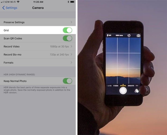 side by side images one of how to turn on your grid settings on your iphone and the other of the grid settings