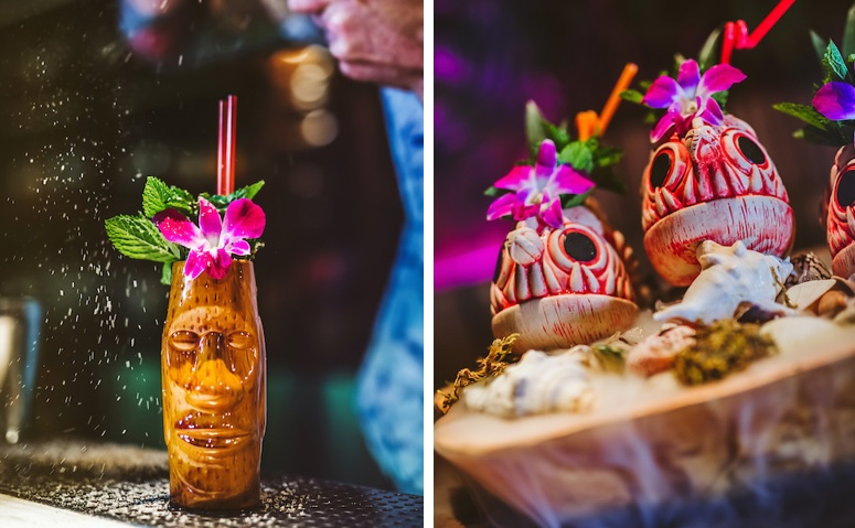 side by side images: painkiller left and caribbean punch right, from three dots