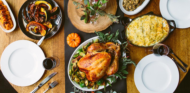 thanksgiving spread at di pescara