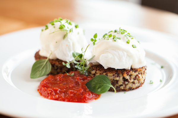 Quinoa Cakes with Poached Eggs at Beatrix