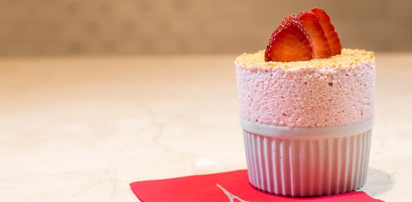 eiffel tower restaurant strawberry souffle Christmas Eve Las Vegas