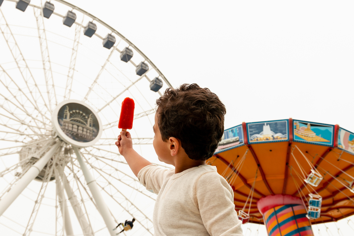 Boy with popsicle at Navy pier