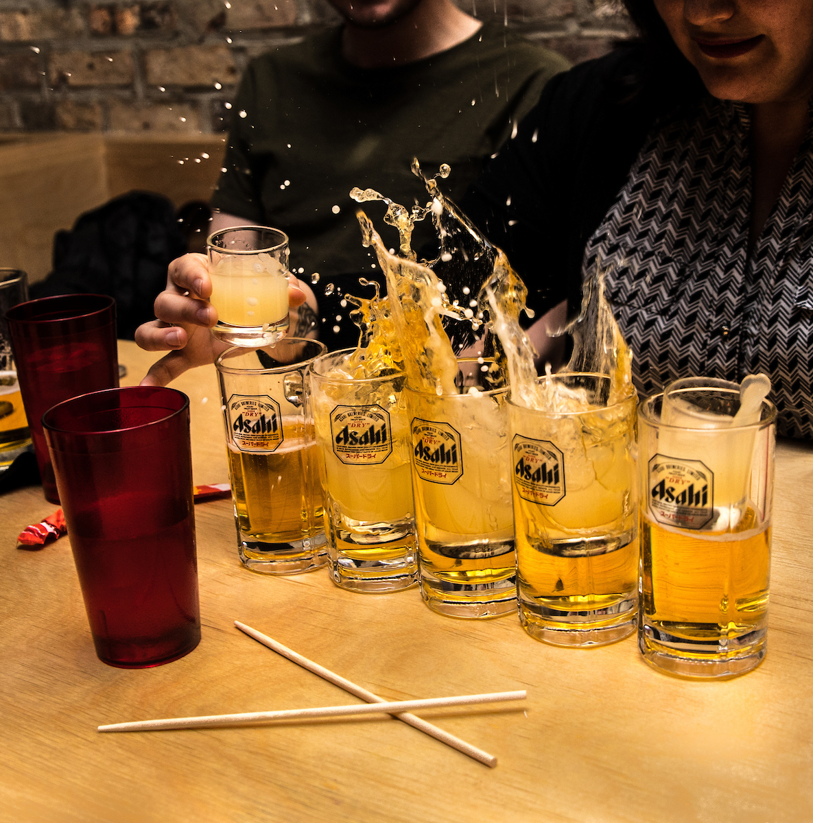 sake bomb splash at ramen-san