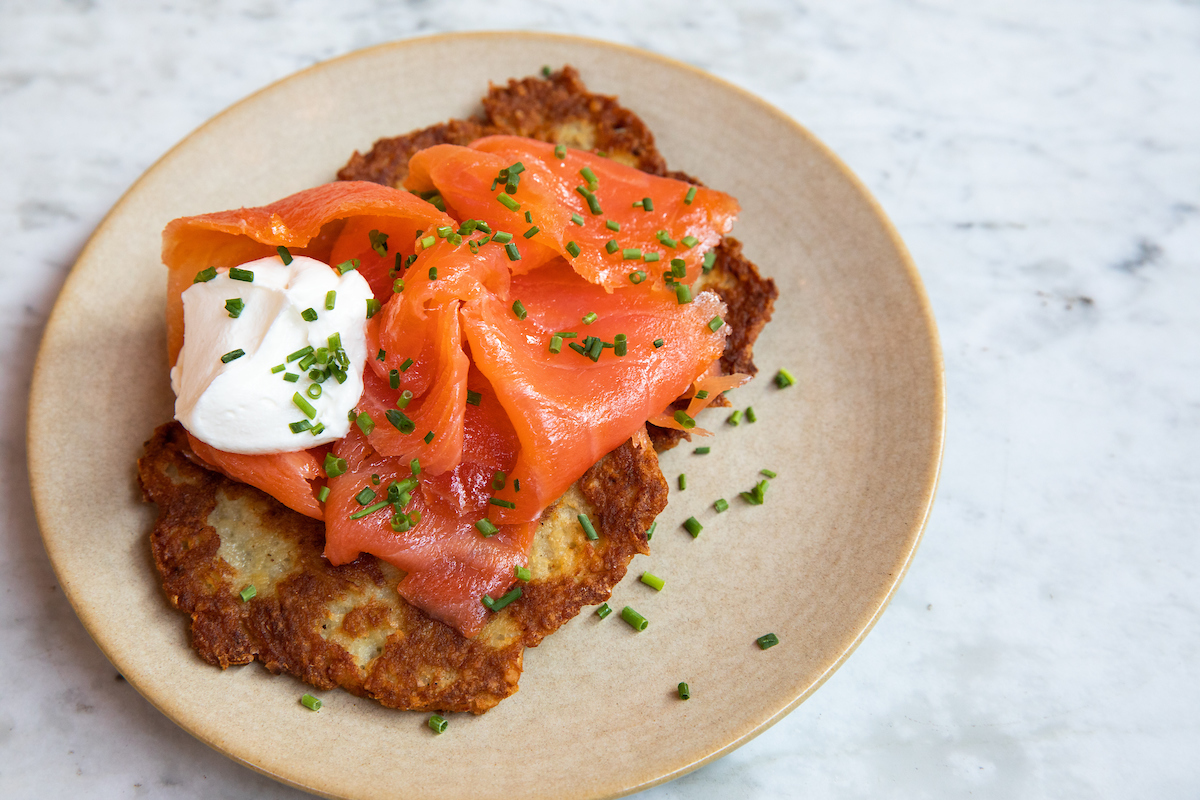 Summer House Latkes topped with smoked salmon