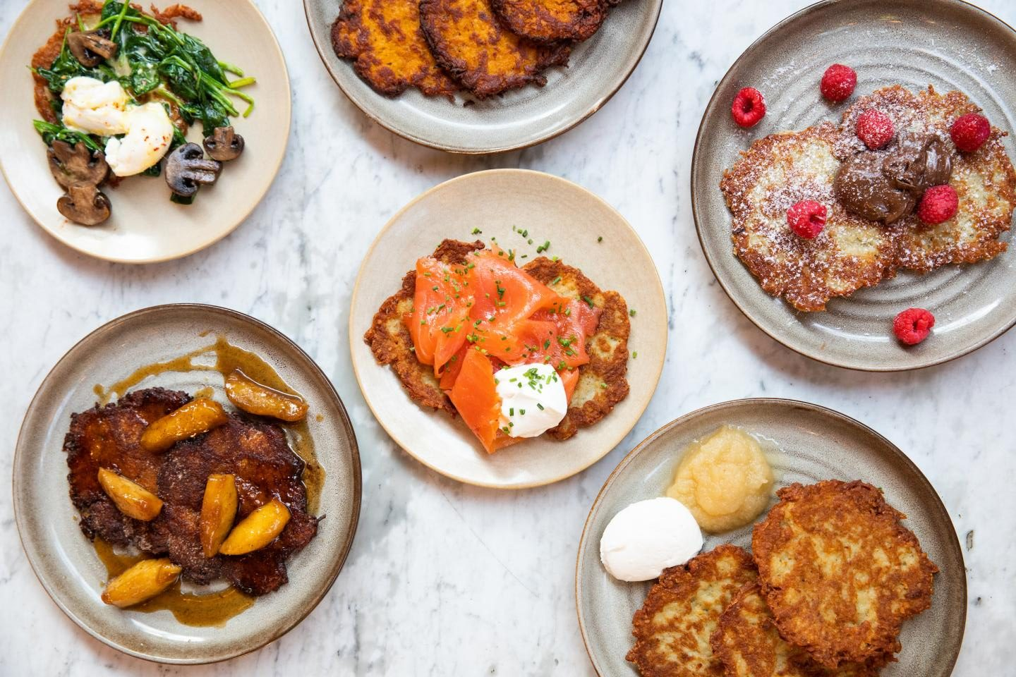 Latkes with different toppings