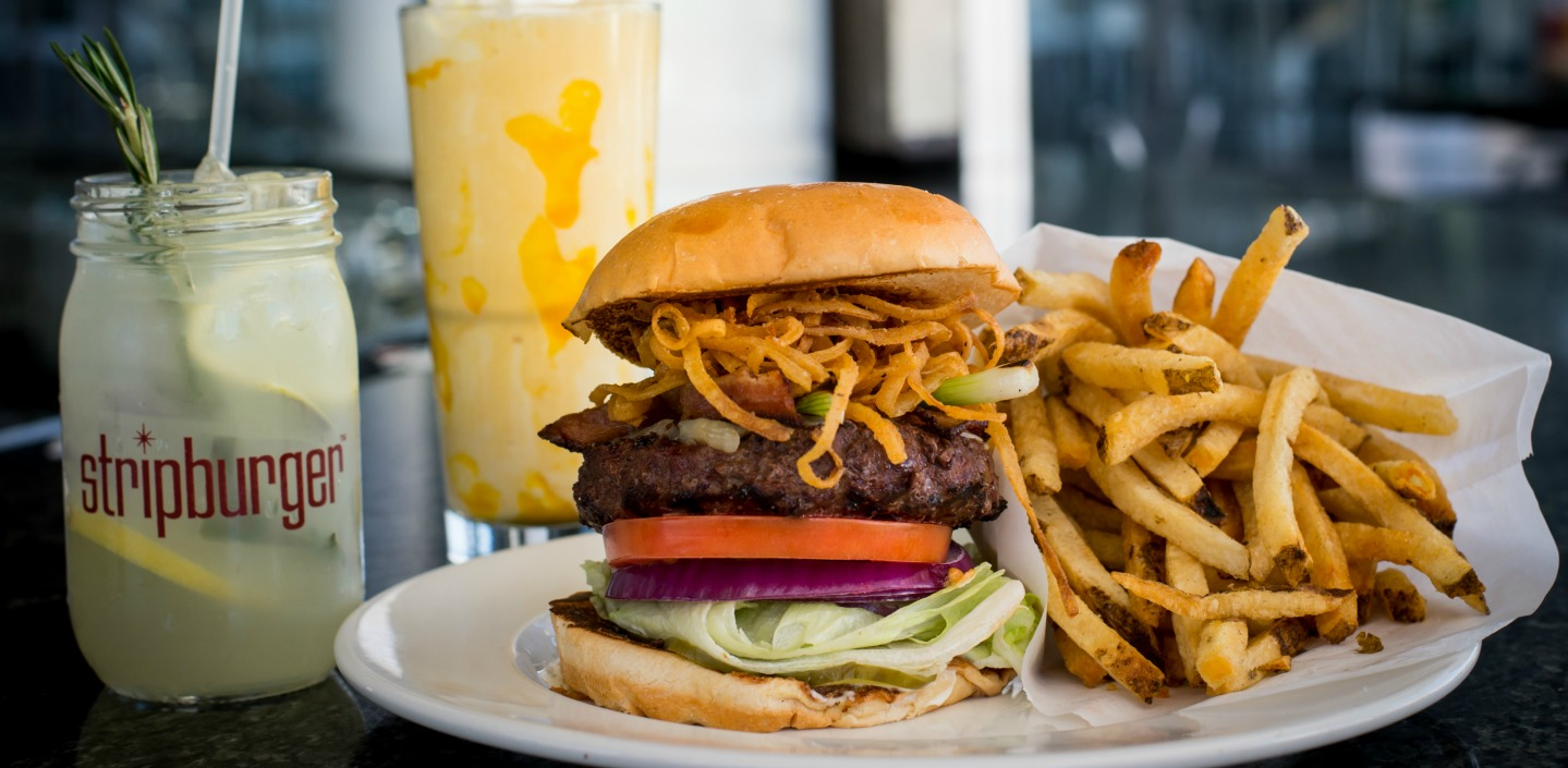 burger with fries and margarita and shake