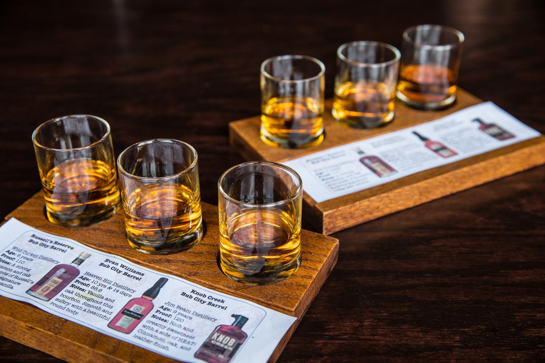 whiskey tasting flight at bub city