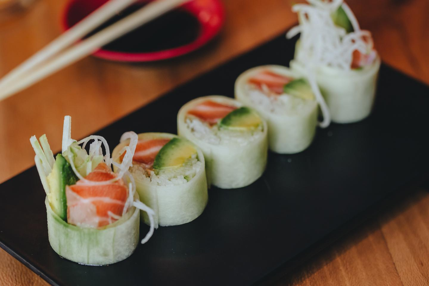 Cucumber wrapped sushi from sushi san