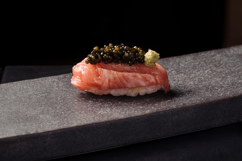 Sushi tuna with caviar from Omakase at Sushi san