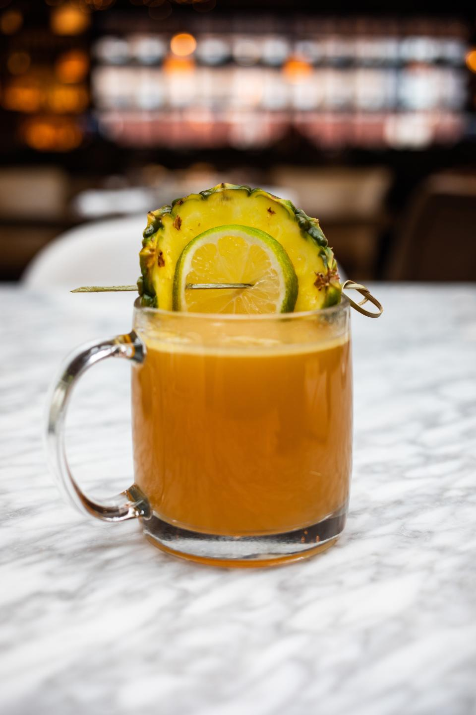 Hot buttered pineapple rum