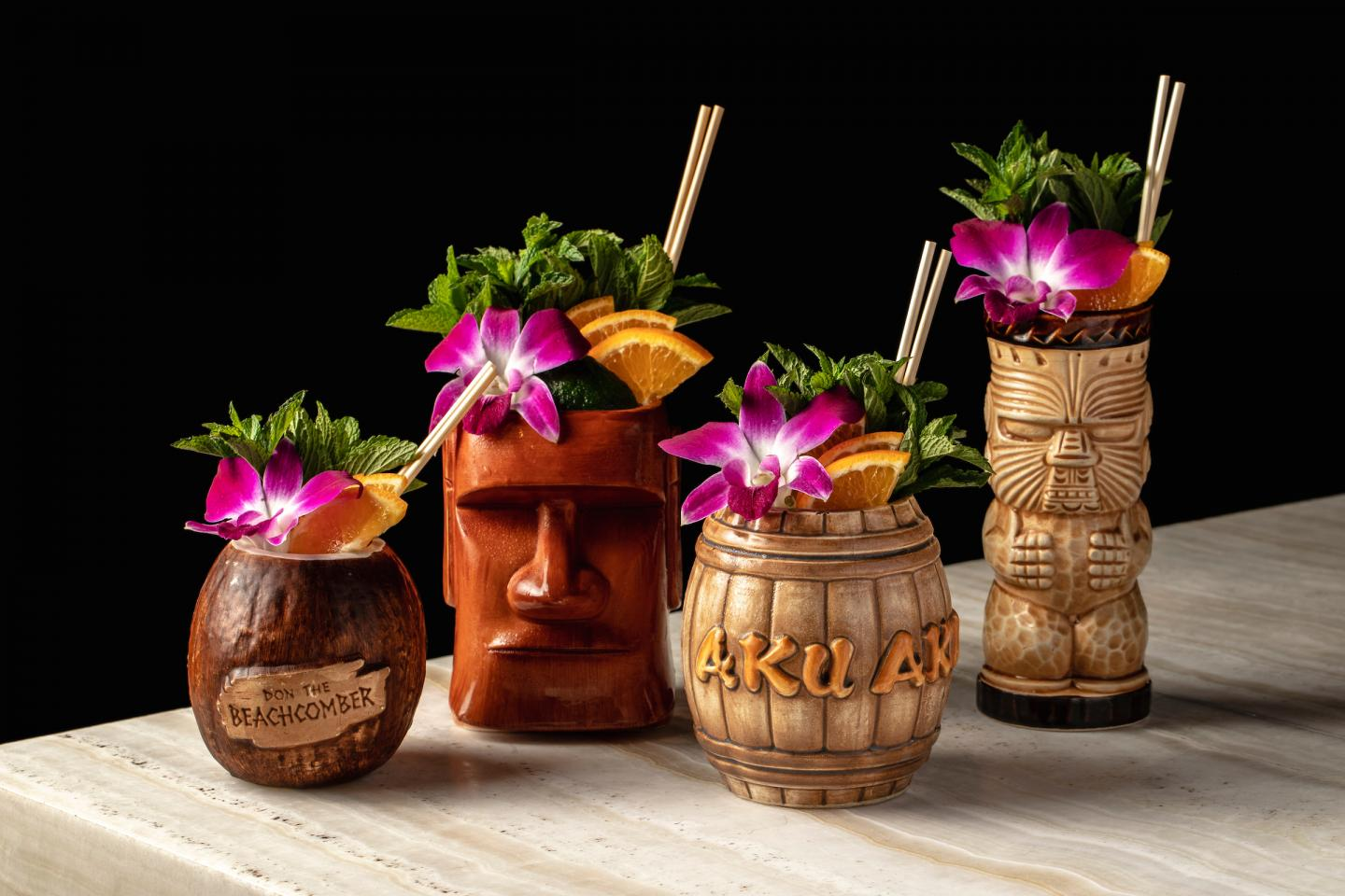 Mai Tais in vintage tiki mugs at The Bamboo Room