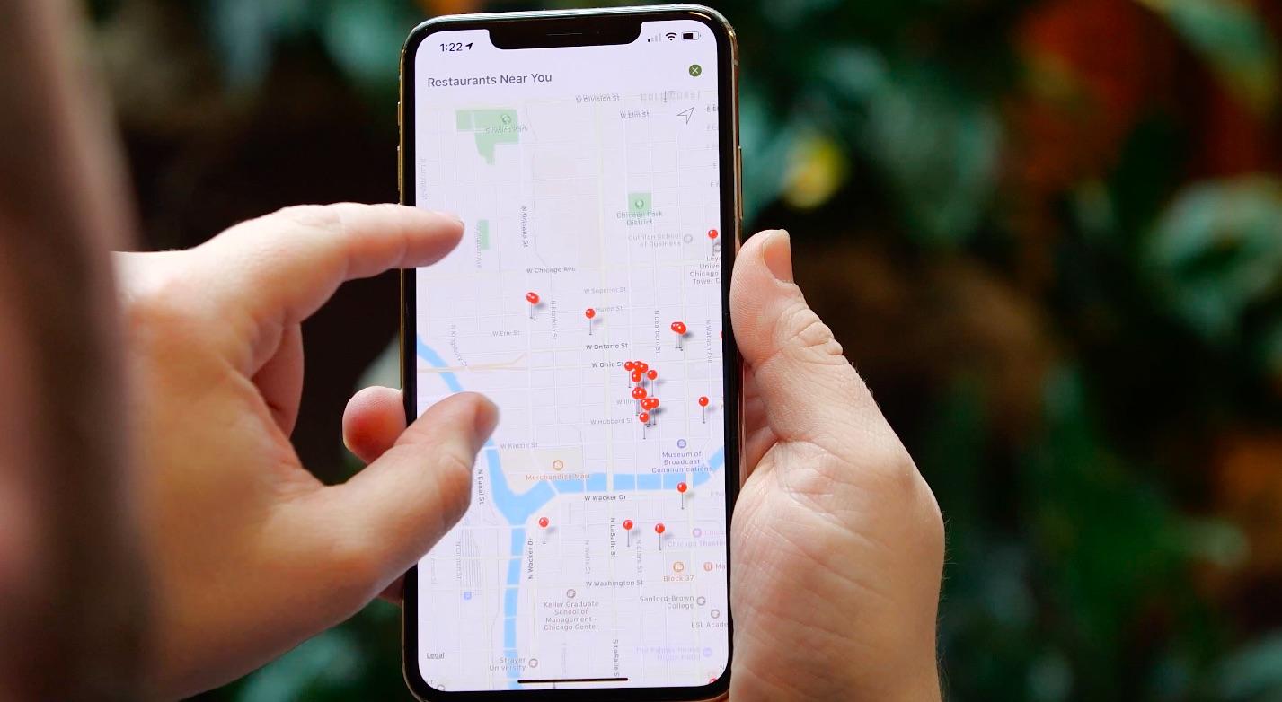 Map feature on lettuce eats app