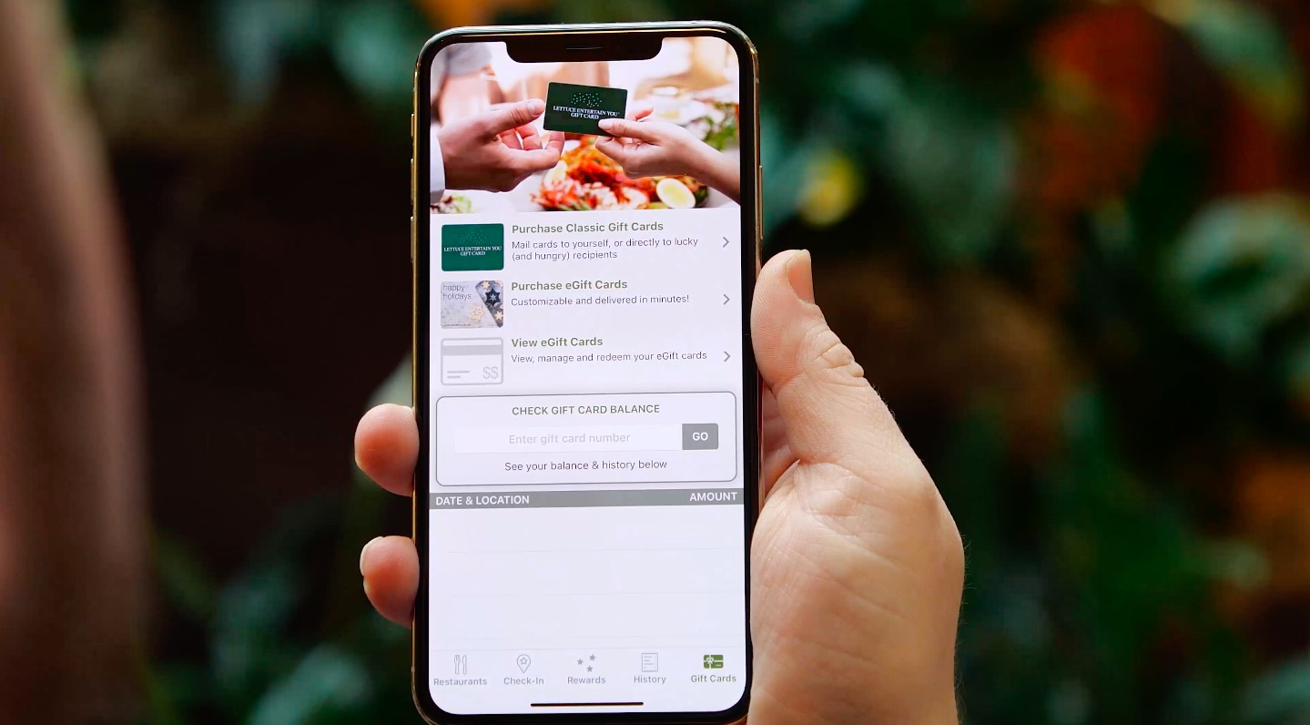 gift card balance screen from lettuce eats app