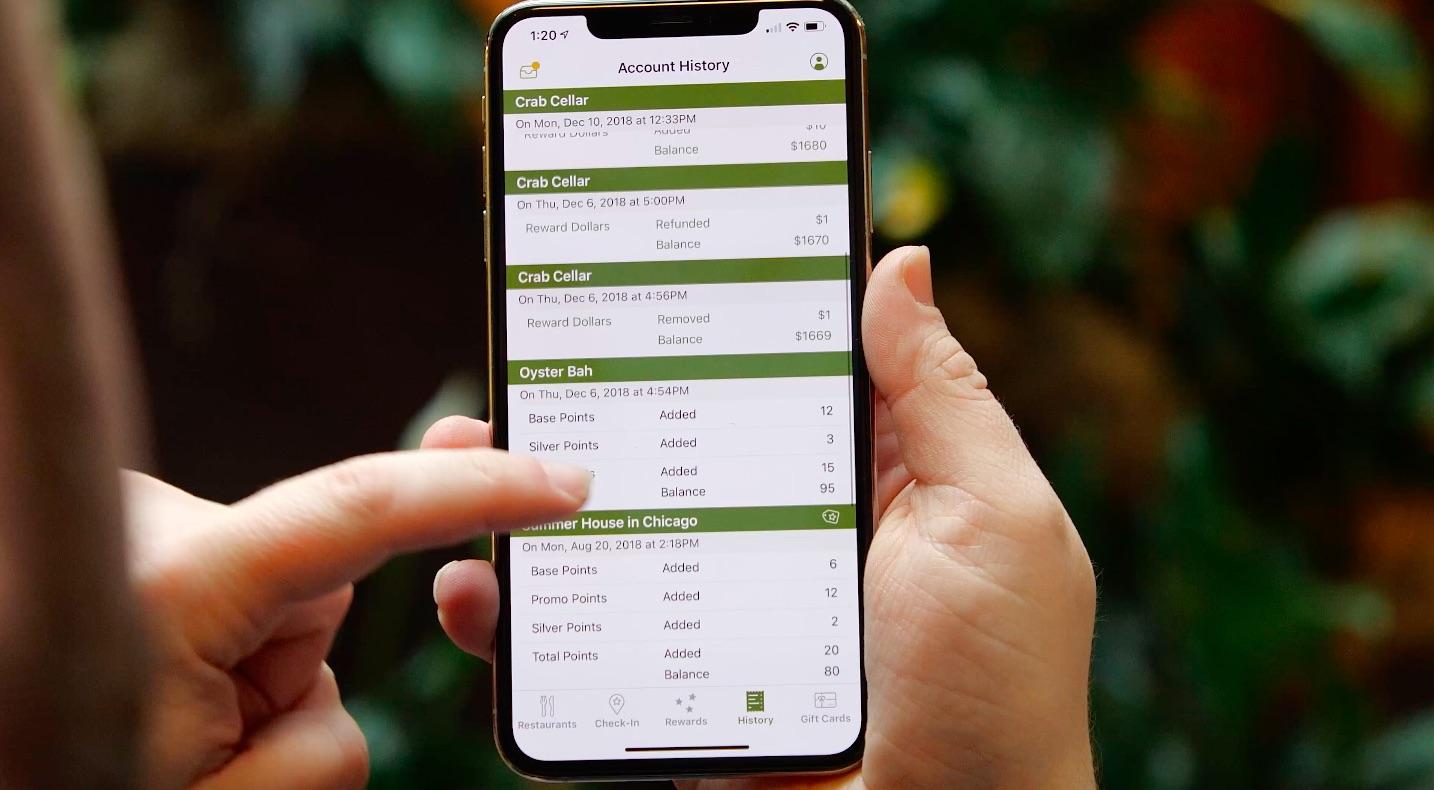 transaction history screen for lettuce eats app