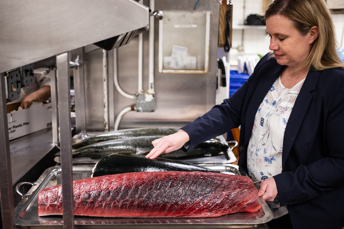 Sarah Johnson with Tuna in the kitchen at Shaw's Chicago