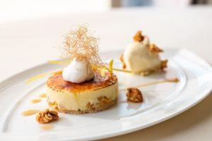 Corn dessert from Everest on a plate