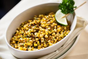 A dish of roasted sweet corn