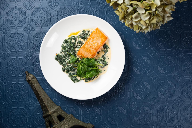 Mon Ami Gabi salmon on fall/winter menu