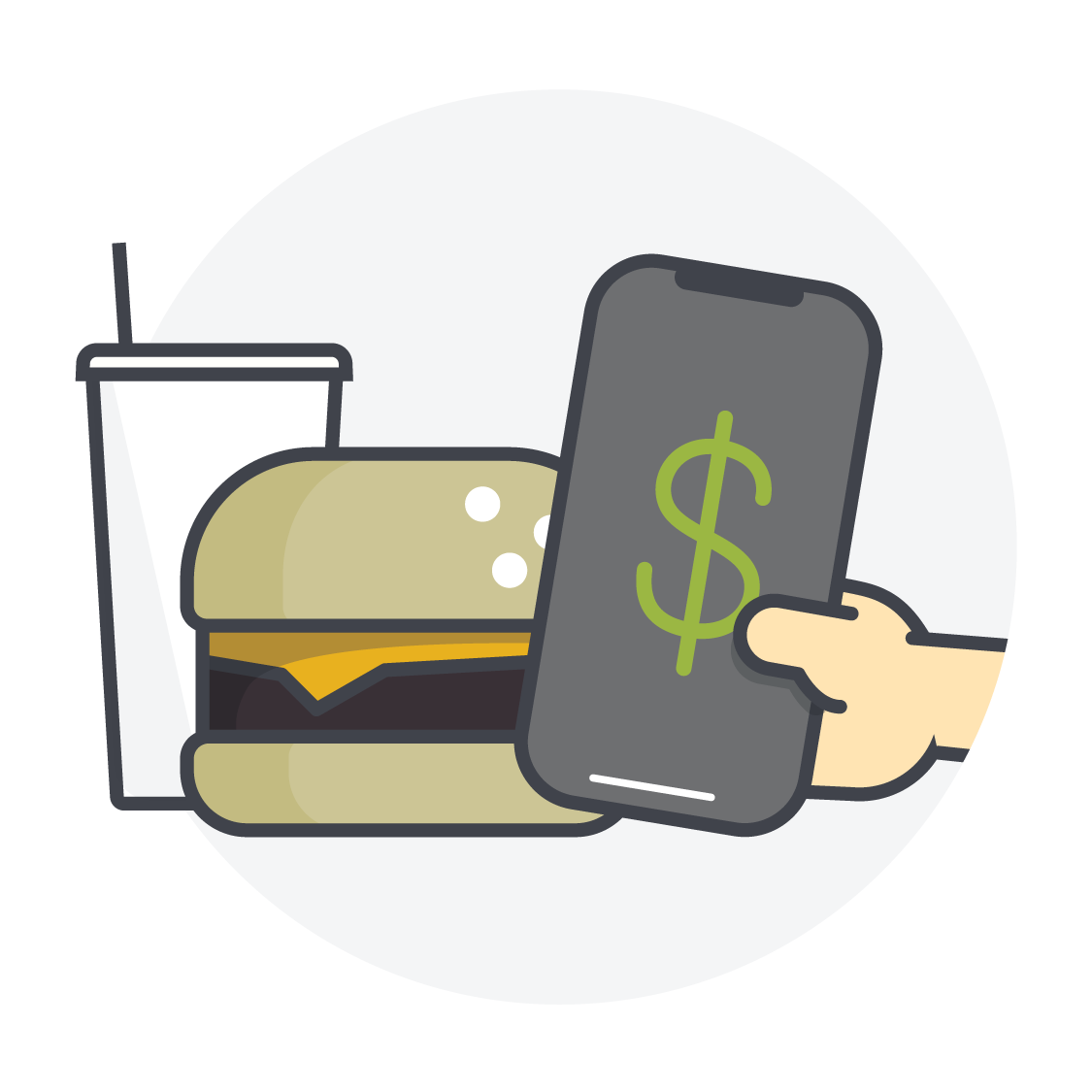An icon showing a phone paying for a meal