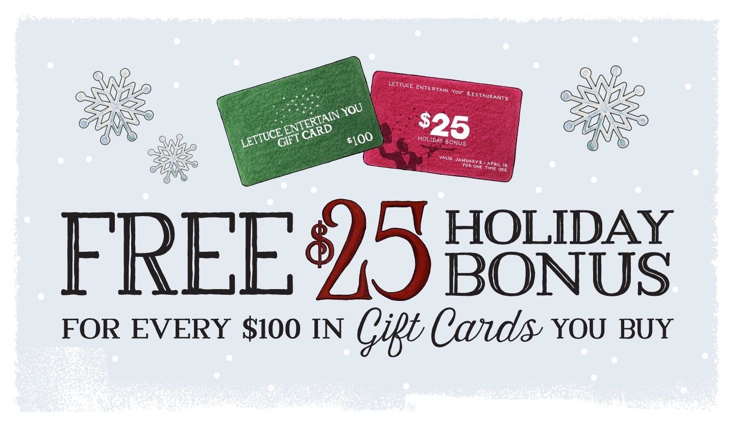 Free $25 Holiday Bonus For Every $100 In Gift Cards You Buy