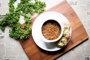 Vegan Onion Soup at Mon Ami Gabi