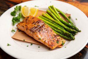 Cedar Planked Salmon on RJ Grunts dinner menu