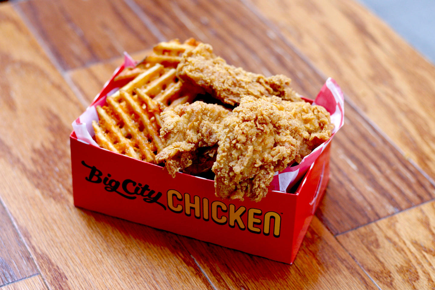 Big City Chicken tender basket with waffle fries