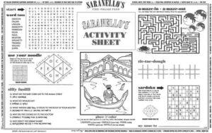 Saranello's Kids activity sheet